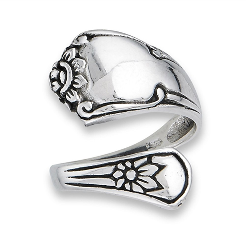 Victorian Style Adjustable Spoon Flower Ring 925 Sterling Silver Band Size 7