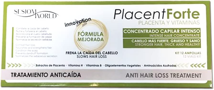 Tratamiento Anticaída PlacentForte Placenta y Vitaminas 12 ampollas sesioMWorld®