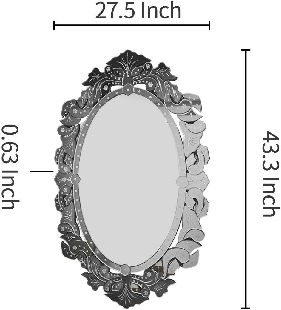 Verre h/ôtel W 24 X H 38.1 KOHROS Miroir Mural d/écoratif Moderne v/énitien pour Maison Salle de Bain Argent/é Chambre /à Coucher