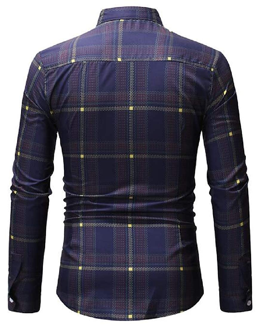 Fubotevic Mens Business Long Sleeve Checkered Casual Button Up Dress Work Shirt