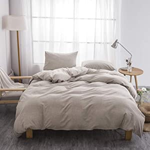 BFS HOME Stonewashed Cotton/Linen Duvet Cover King, 3-Piece Comforter Cover Set, Breathable and Skin-Friendly Bedding Set (Khaki, King)