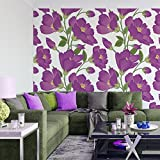DeStudio 'Flower Background' Peel and Stick Wallpaper (Self Adhesive), Tile / 1.8 Sqft (41 cm X 41 cm) (Pack of 03)-14135