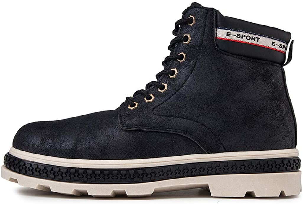 Men's Martin Boots Military Combat Boots Casual Work Shoes Lace Up Mid Calf Boots Outdoor Walking Hiking Shoes for Fall Winter Black