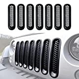 jeep wrangler blue grill inserts - DIYTUNINGS Matte Black Mesh Grill Mesh Grill Insert for Jeep Wrangler JK JKU Unlimited Rubicon Sahara X Off Road Sport Exterior Accessories Parts 2007-2015