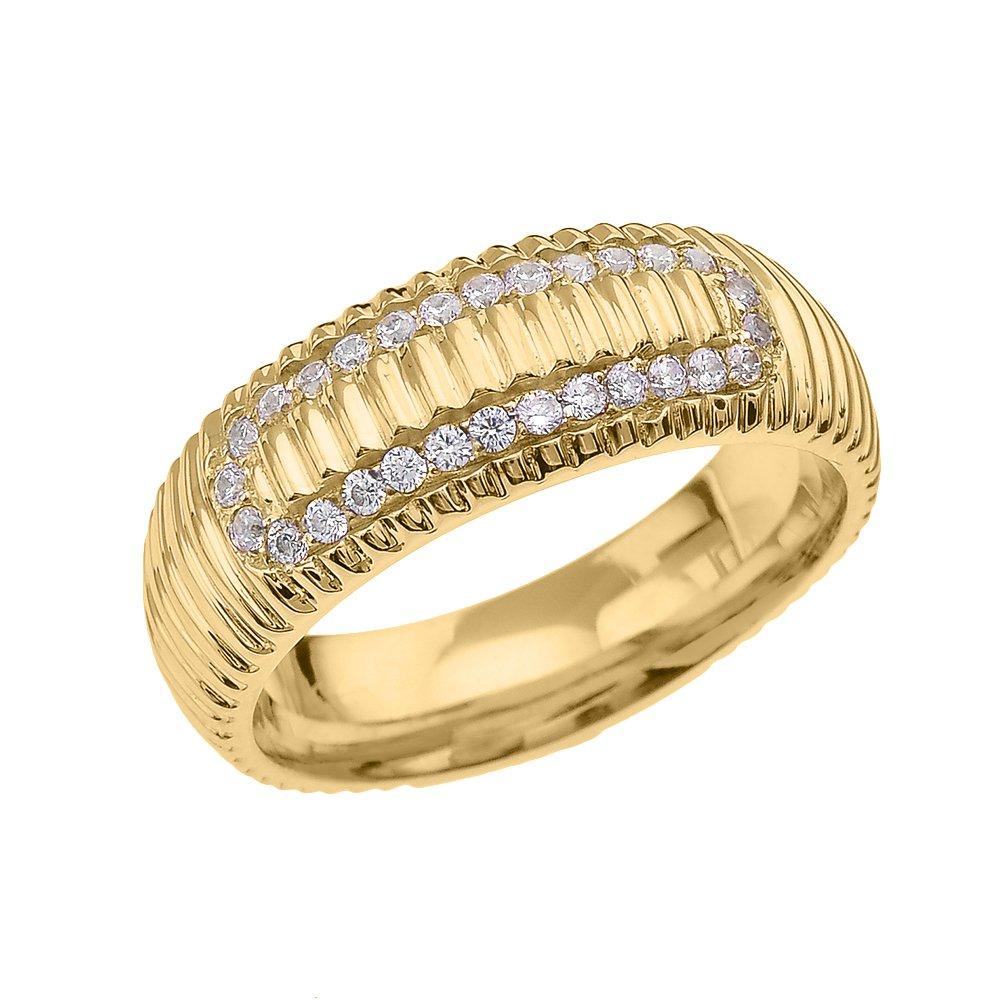メンズ 10k イエローゴールド キュービックジルコニア 時計バンドデザイン 快適フィット 結婚指輪 B01DFWODUW 9.5