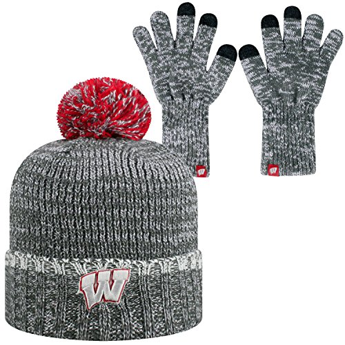 Top of the World Wisconsin Badgers Official NCAA Combo Frostbite Cuffed Stocking Stretch Knit Sock Hat Cap Beanie and Gloves 560076