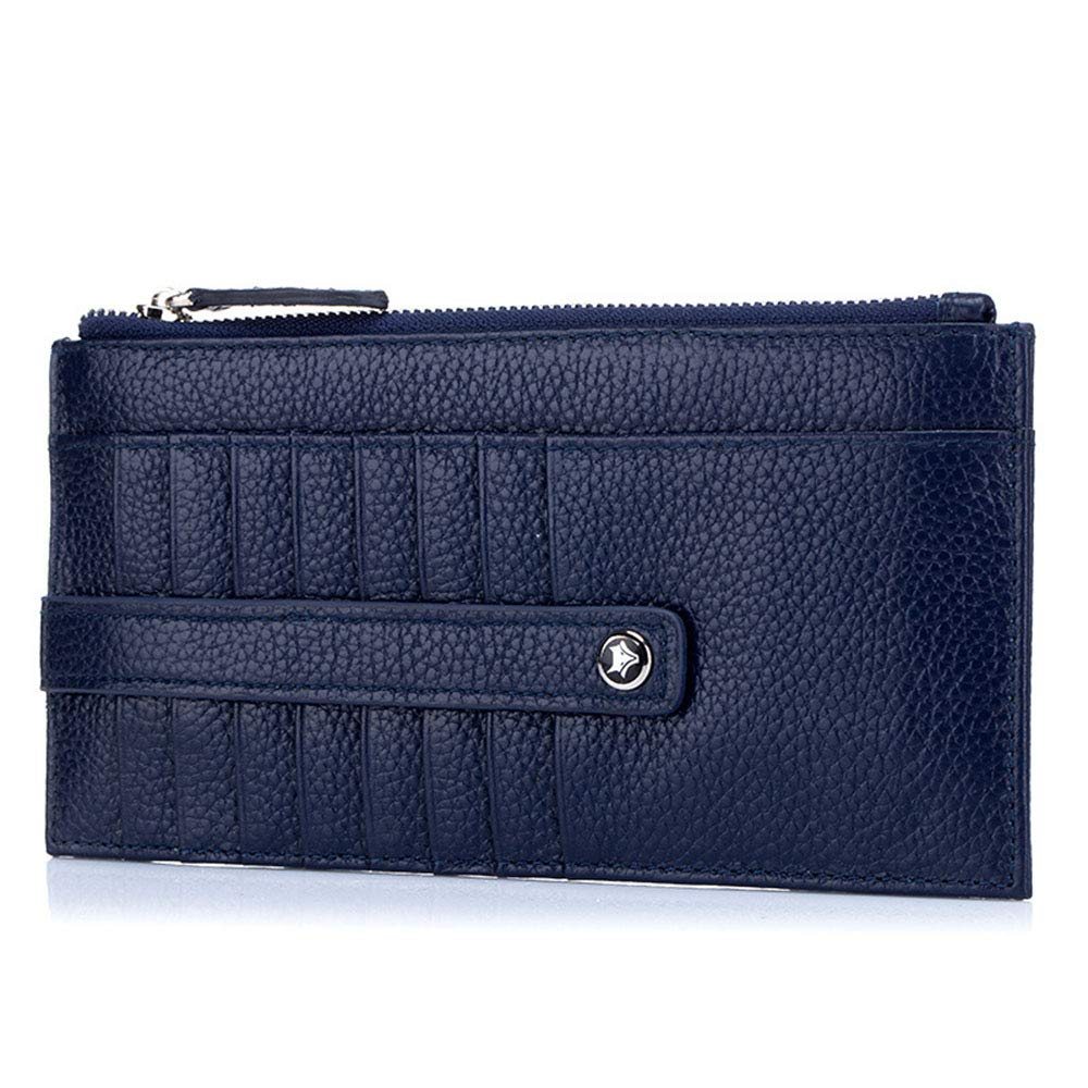 bluee Long Wallet Card Package OnePiece Women's Leather Wallet Wallet MultiCard Wallet Clutch (color   Brown)
