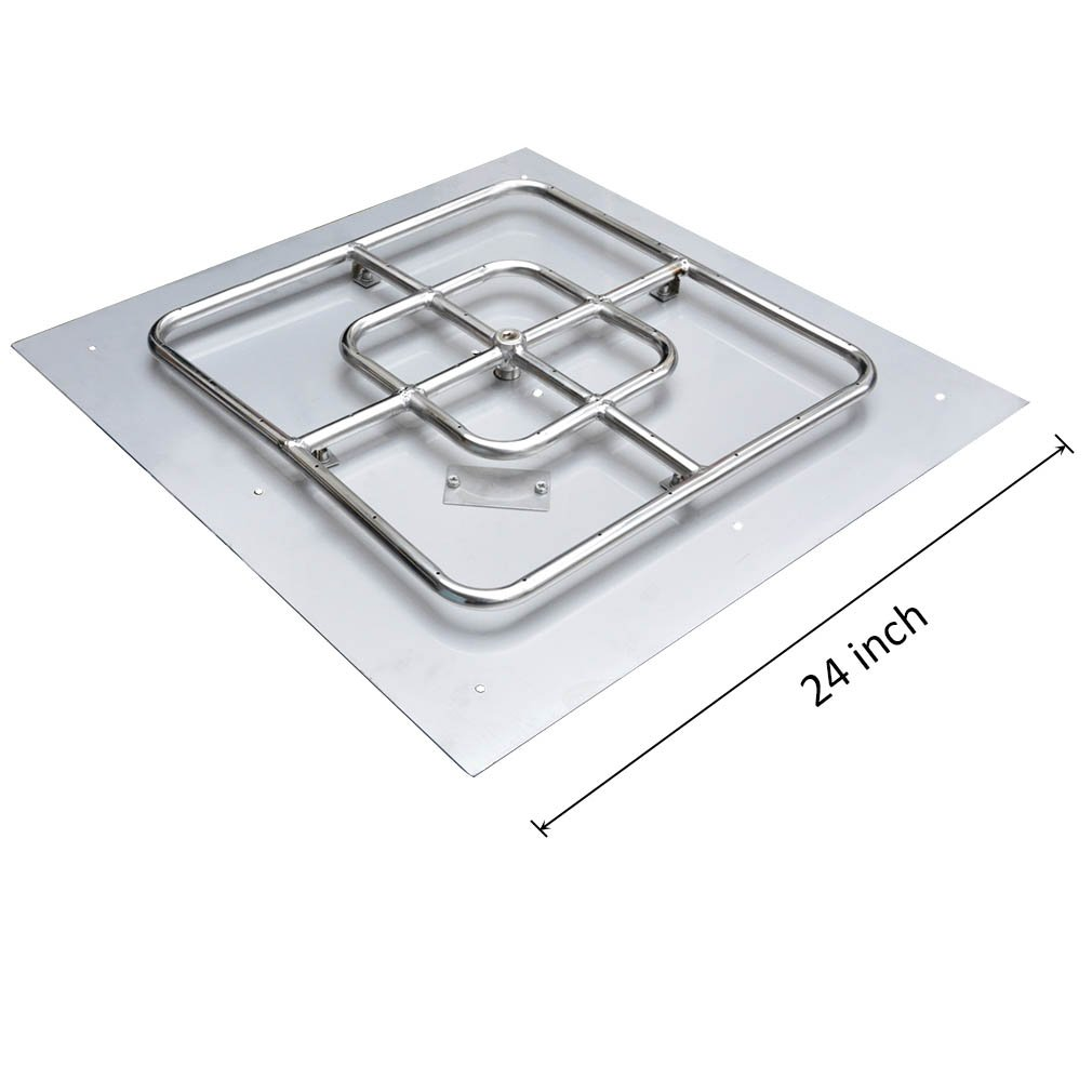 Onlyfire Stainless Steel Square Fire Pit Burner with Pan, 24-inch