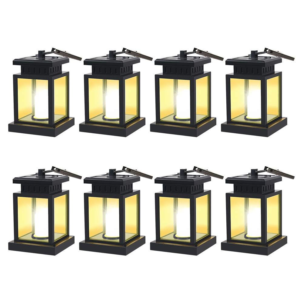 HKYH 8 Pack LED Solar Mission Lantern, Vintage Solar Powered Waterproof Hanging Umbrella Lantern Candle Lights Led with Clamp Beach Umbrella Tree Pavilion Garden Yard Lawn Etc. Lighting & Decoration