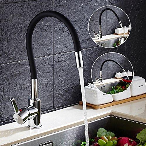 Auralum Commercial Kitchen Faucet 360 Degree Swivel Single Handles High Arc Faucet Single Hole Brass Kitchen Sink Faucets,Polished Chrome
