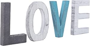 N\C Wooden Decorative Letter Love,Large Wood Letters for Wall Décor in Rustic Blue, White and Grey – Rustic Home Decoration for Living Room-Rustic Home Décor Accents – Farmhouse Decor