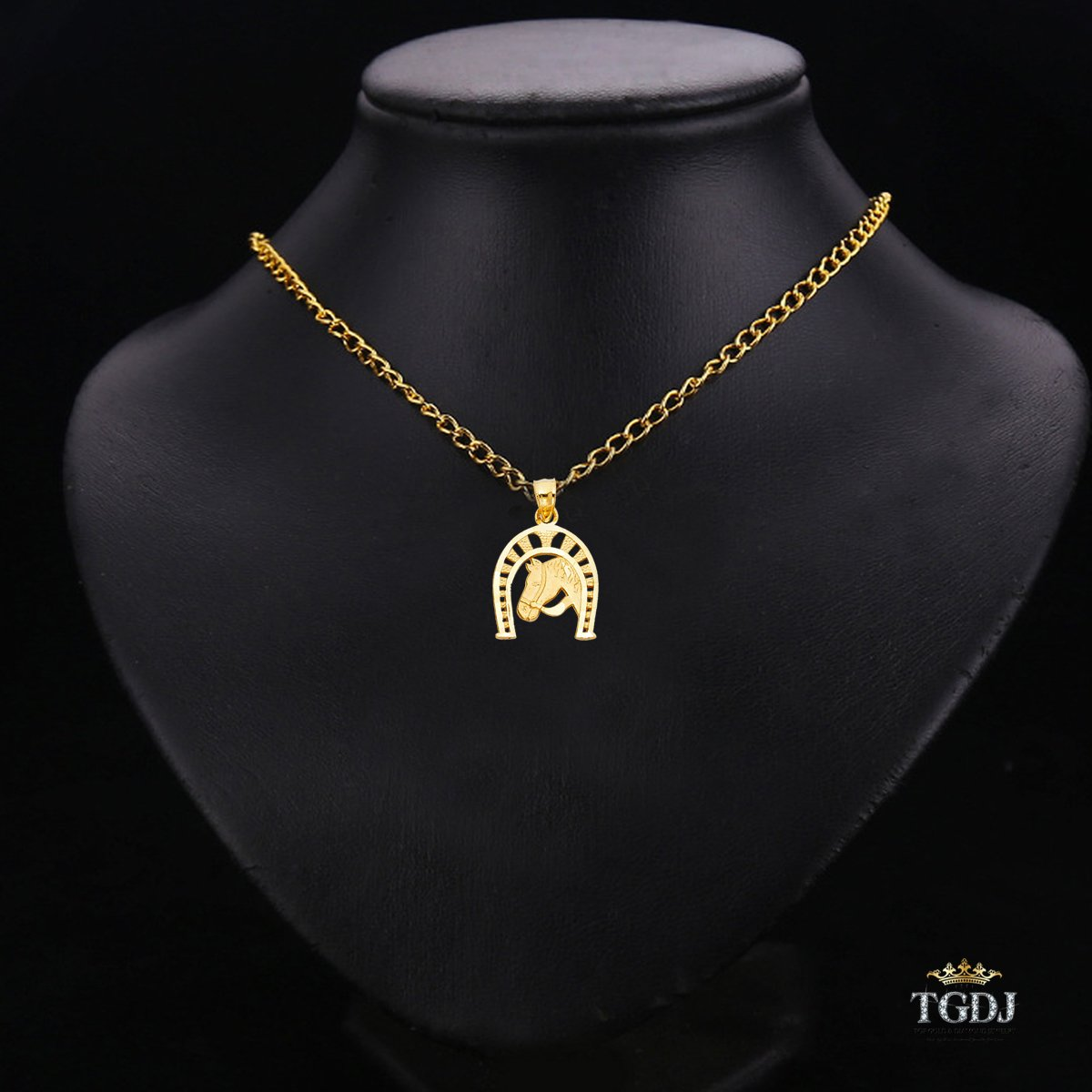 Height 16 MM Width 14 MM TGDJ 14k Yellow Gold Good Luck Horseshoe Charm Horse Head Pendant-