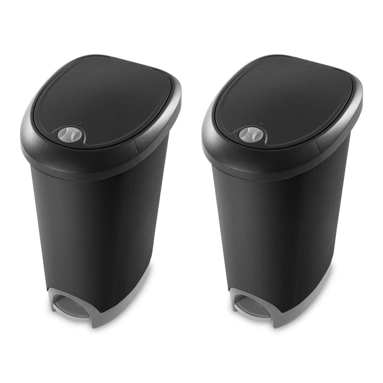 Sterilite 12.6 Gallon Locking StepOn Wastebasket, Black (2 Pack) | 10739002 by STERILITE