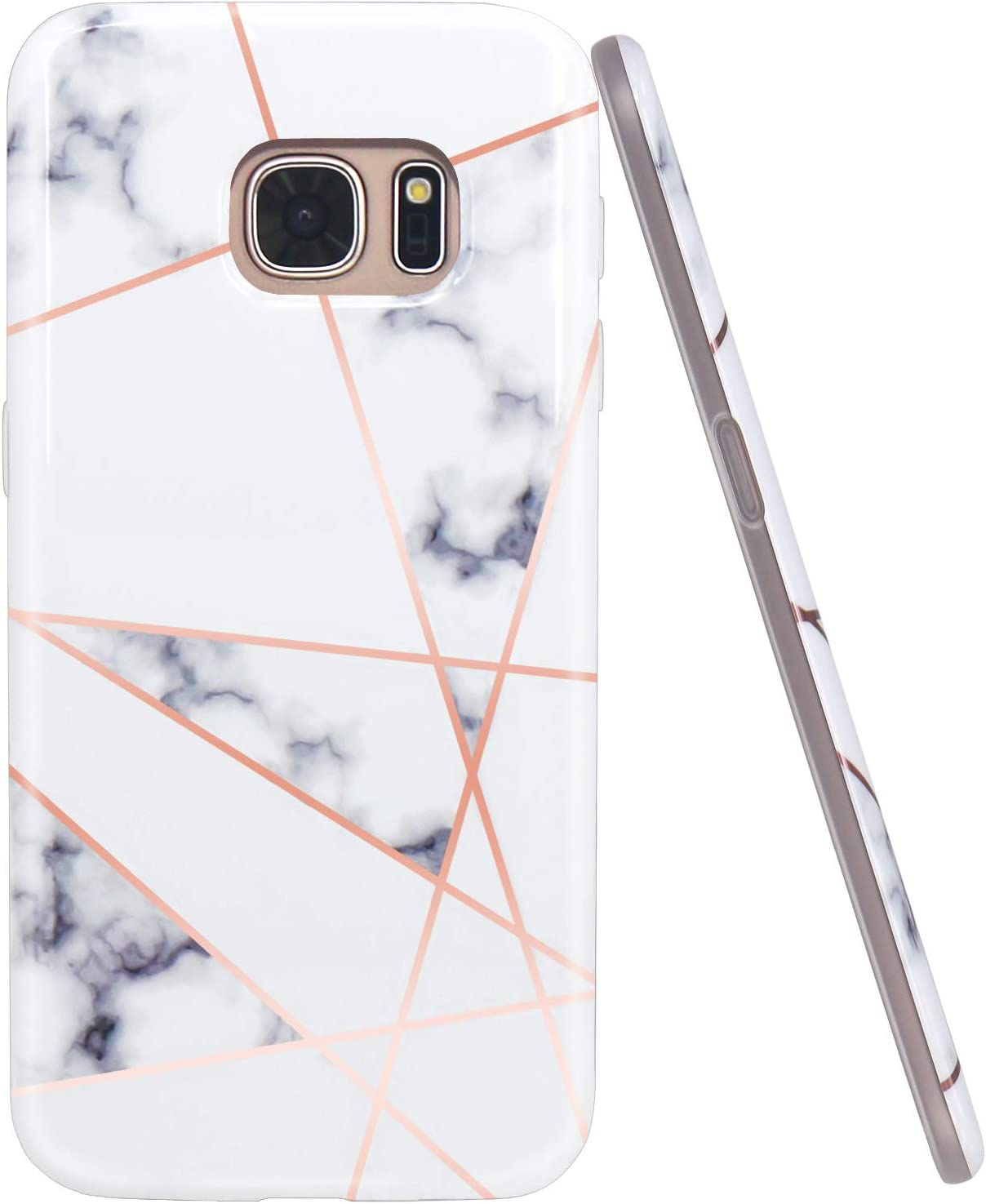 JAHOLAN Galaxy S7 Case Shiny Rose Gold Geometric White Marble Design Slim Flexible Bumper Glossy TPU Soft Rubber Silicone Cover Phone Case for Samsung Galaxy S7