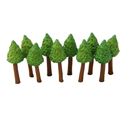 Flameer Pack of 10pcs Miniature-Green Small Trees for Decoration: Home & Kitchen