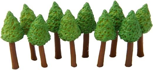10pcs Mini Árboles en Miniatura Resina Decoración para Paisaje Jardin Casa de Muñecas -Verde Café: Amazon.es: Hogar