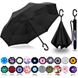 Tiger Head Stylized Rainproof and Windproof UV Protection Double Layer Folding Inverted Umbrella with C-Shaped Handle Reverse Umbrellas For Car Rain Outdoor