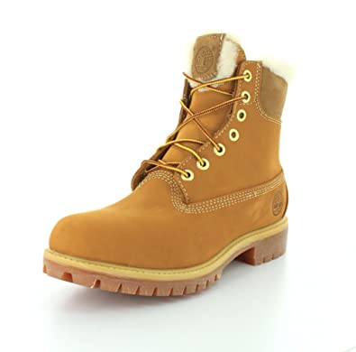 Timberland 6 Inch Fur Lined Men Round Toe Leather Winter Boot Wheat Nubuck 8 D(