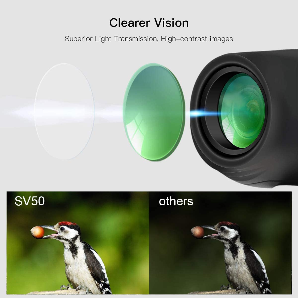SVBONY SV50 Compact Binoculars 10X22 Small Pocket Binoculars Lightweight Binocular for Adults Kids for Bird Watching Traveling Sightseeing