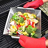 Non-stick Vegetable Grill Basket, Outdoor Grilling Accessories for Grilling Veggies Fish Meat and Shrimp, Use as Grill Topper Barbecue Wok Pan