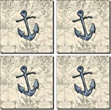 Nautical - Anchor by Sara Mullen - Ceramic Accent Tile Set 4.25'' x 4.25'' Kitchen Shower Backsplash