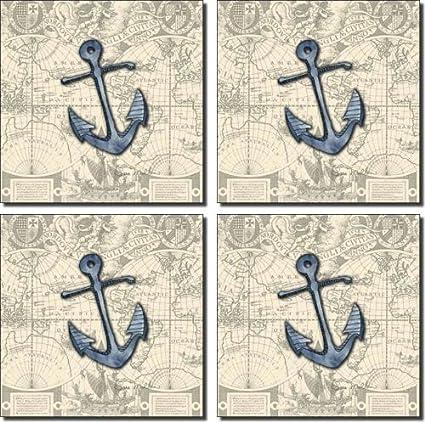 Nautical   Anchor By Sara Mullen   Ceramic Accent Tile Set 6u0026quot; X 6u0026quot;