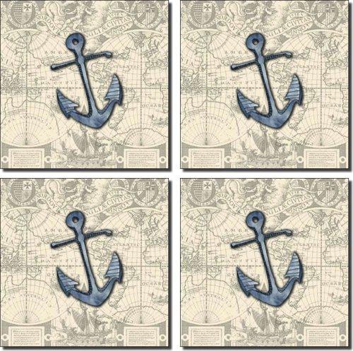 Nautical - Anchor by Sara Mullen - Ceramic Accent Tile Set 4.25'' x 4.25'' Kitchen Shower Backsplash by Artwork On Tile