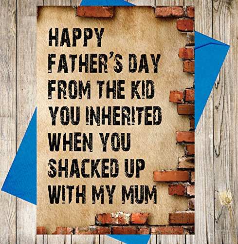 AKGifts Funny Humour Father's Day Card For Step-dad (Brick Design) - Happy Fathers Day From The Kid You Inherited When You Shacked Up With My Mum