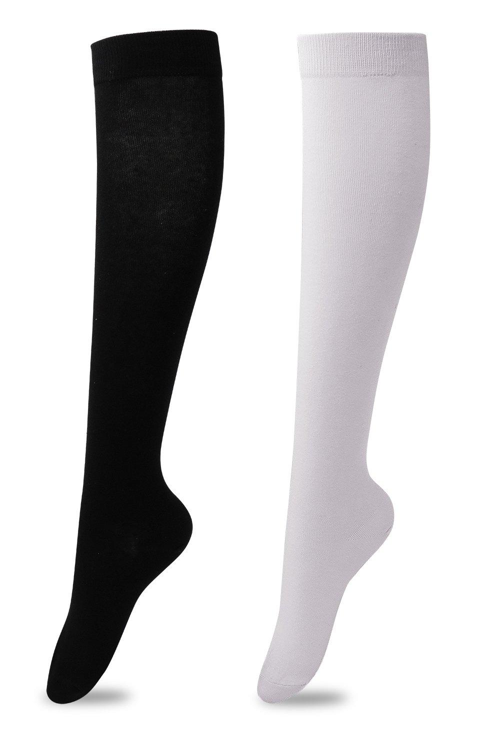 Women's Over The Knee High Socks Knee Socks White&black One Size