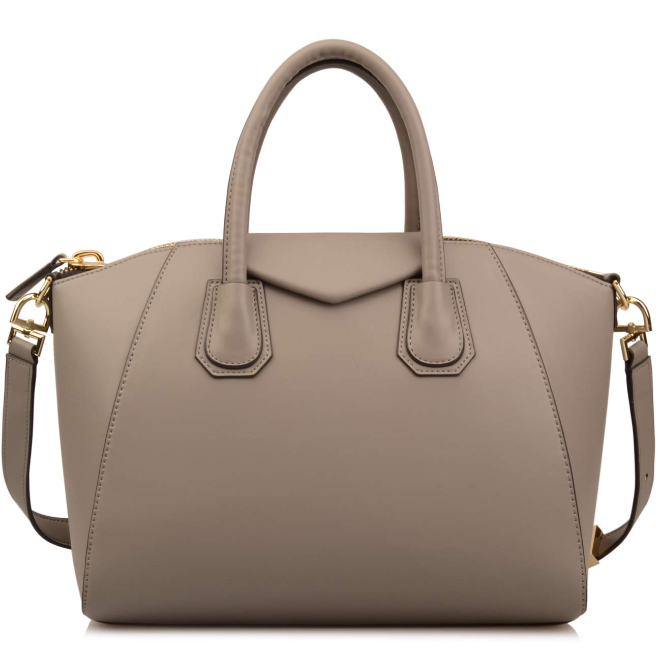 Ainifeel Women's Genuine Leather Everyday Purse Top Handle Handbags Shoulder Bags (Medium, Dark grey)