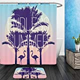 Vanfan Bathroom 2 Suits 1 Shower Curtains & 1 Floor Mats silhouette tropic birds flamingos and a banana palm tree in the background paradise sunset vacation 267193250 From Bath room