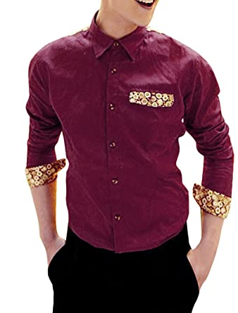 Men Point Collar Floral Pattern Casual Button Down Shirt Dark Red ...