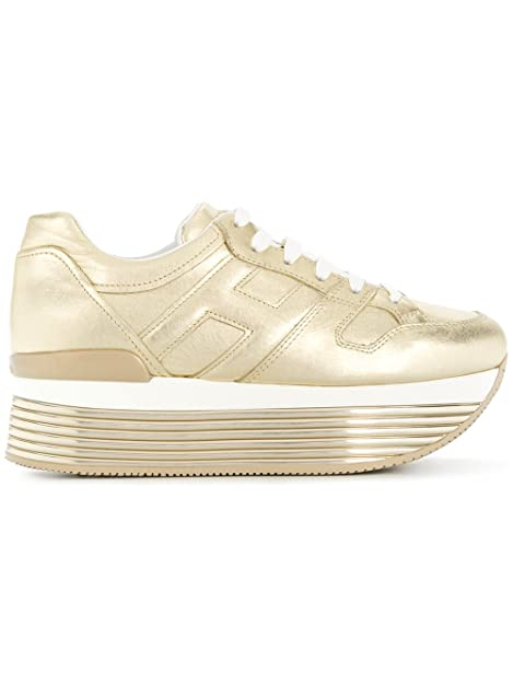 Hogan Sneakers Donna HXW3520T548I6EG210 Pelle Oro  Amazon.it  Scarpe ... aa586455b2a