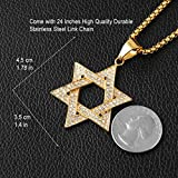 HZMAN Men Star of David Iced Out CZ Pendant 18k