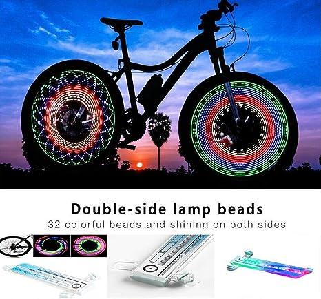 Luces de rueda de bicicleta, luz de llanta de bicicleta impermeable de 32 LED con luz