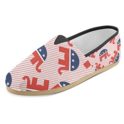 InterestPrint Women's Loafers Classic Casual Canvas Slip On Fashion Shoes Sneakers Flats Elephants