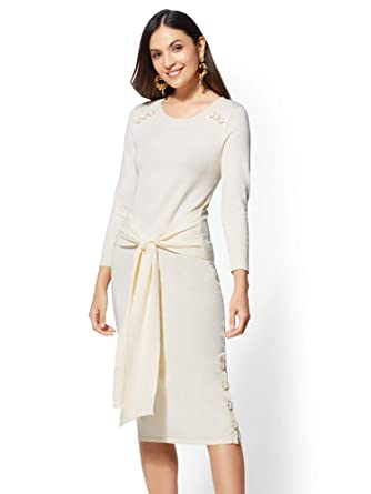 a59c3202140 Women s Button-Accent Tie-Front Sweater Dress at Amazon Women s Clothing  store