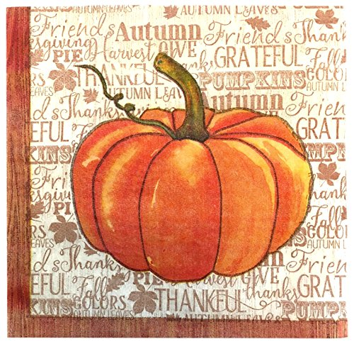 (Fall Decoration Luncheon Napkin with Watercolor Pumpkin Design 2 Packs of 18 napkins each)
