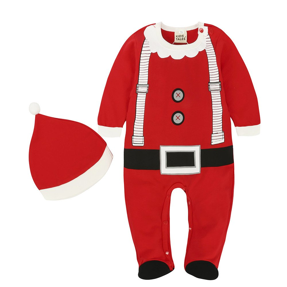 Kids Tales Baby 2Pcs Christmas Santa Outfit Boys Girls Elf Costume Romper + Hat Fuzhou Shang Ku Trade Co. Ltd.