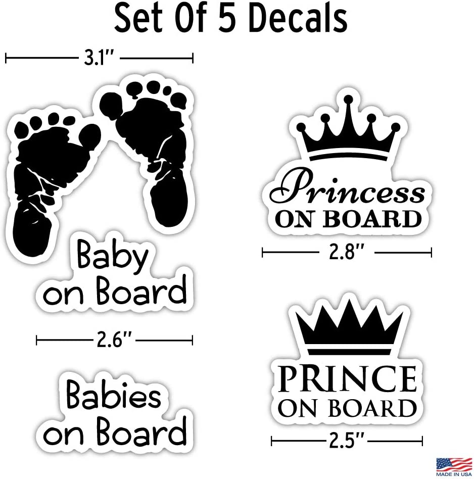 Baby Footprints Prince Princess On Board 5 Piece Decals Car Window Decals Vinyl Car Sign Sticker Safety Signs All Weather Proof Easy to Put On Car Baby On Board Vinyl Stickers