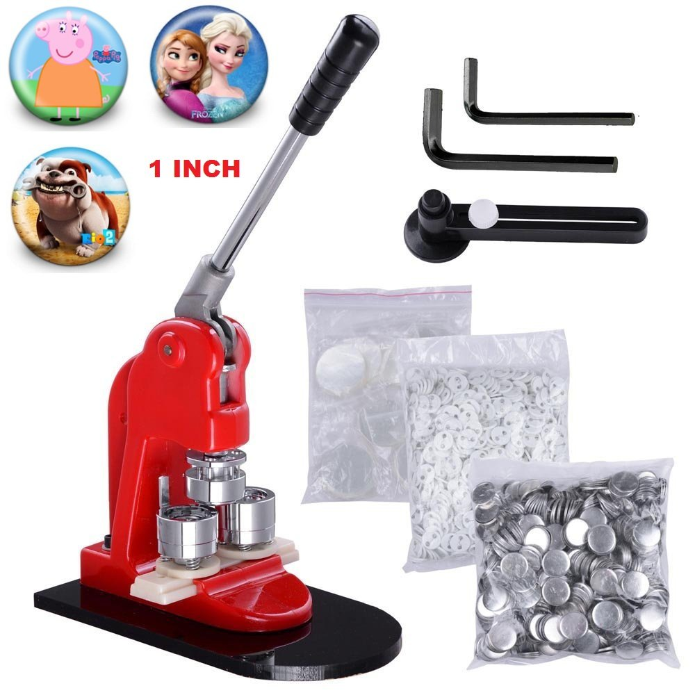 Superland Button Maker 1Inch 25mm Button Maker Machine 1000Pcs Button Parts Button Badge Maker and Circle Cutter for School DIY (1000pcs) by Superland