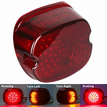 MOVOTOR Red Low Profile Harley Davidson Tail Light Integrated Brake Turn  Signal Rear Light for Sportster 883 1200 Dyna FXD Road King