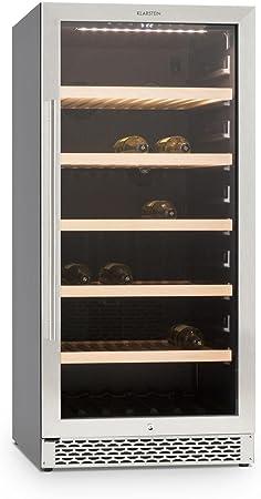 Klarstein Botella 120S vinoteca (122 botellas, 270 litros, silencioso, acero inoxidable, clase A, iluminacion LED, panel control táctil, estantes extraíbles, llaves seguridad)