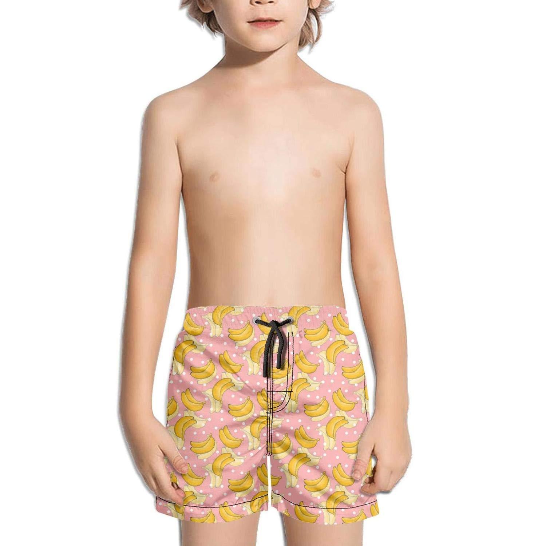 LKIMNJ Boys Board Shorts Banana ice Cream Flower Pink Color Quick Dry Light Beach Board Shorts