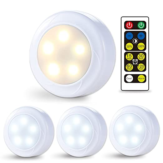 check out 12d57 8f6db Litake Under Cabinet Lighting, Wireless LED Puck Lights with Remote Control  Cool /Warm White (Timer+ Stepless Dimmer) 3AA Battery Operated Round ...