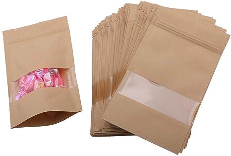 50 piezas de cierre de cremallera hasta bolsas de almacenamiento de alimentos bolsa con ventana & Tear Notch, ahorro de alimentos papel envolver para ...