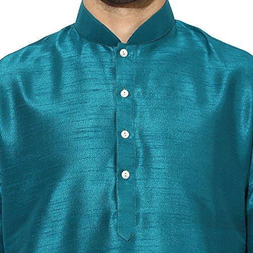 KISAH Men's Teal Blue Dupion Silk Solid Kurta Churidar Set by KISAH (Image #4)