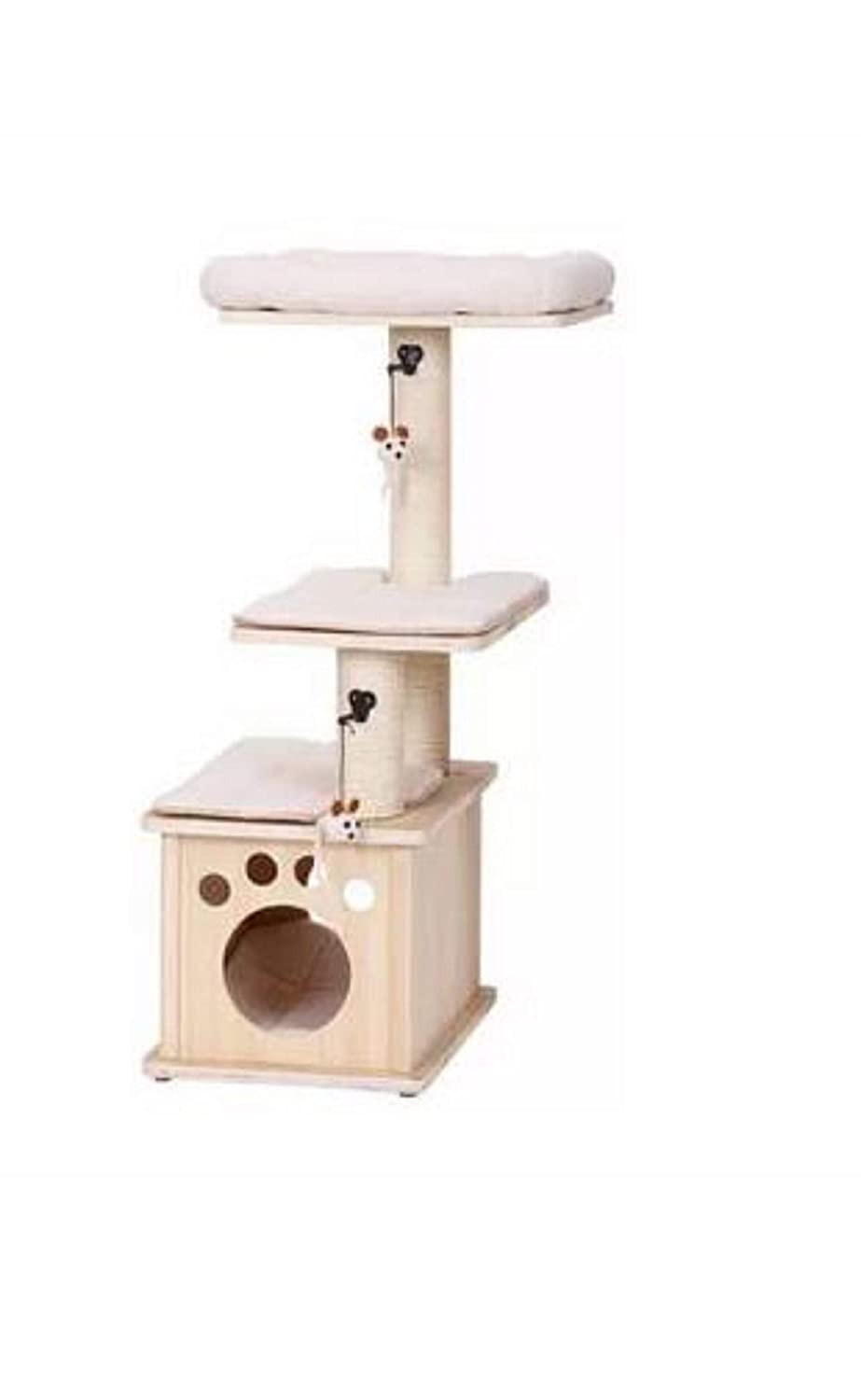 Three Level Cat Tree. 43  Group Aura Natural Wood Three Level Cat Tree with Condo to Provide Hideaway in Cream