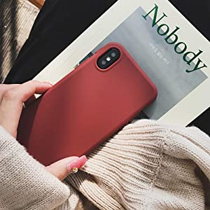 YonMeet Retro Case for iPhone XR 8 7 7plus Soft pro-TPU Cover for iPhone6 6Plus 6s 6sPlus Fashion Style Flexible Rubbery Slim Cover (iPhone XR, Wine Red)