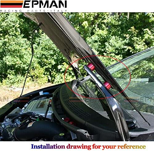 Red Universal Aluminum Billet Hood Vent Spacer Riser Kits Swap 6MM Hole